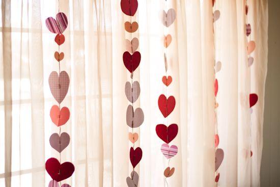 easy heart garland, for vday.
