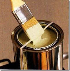 Place a rubber band around the open can so you can wipe the excess paint off the brush.