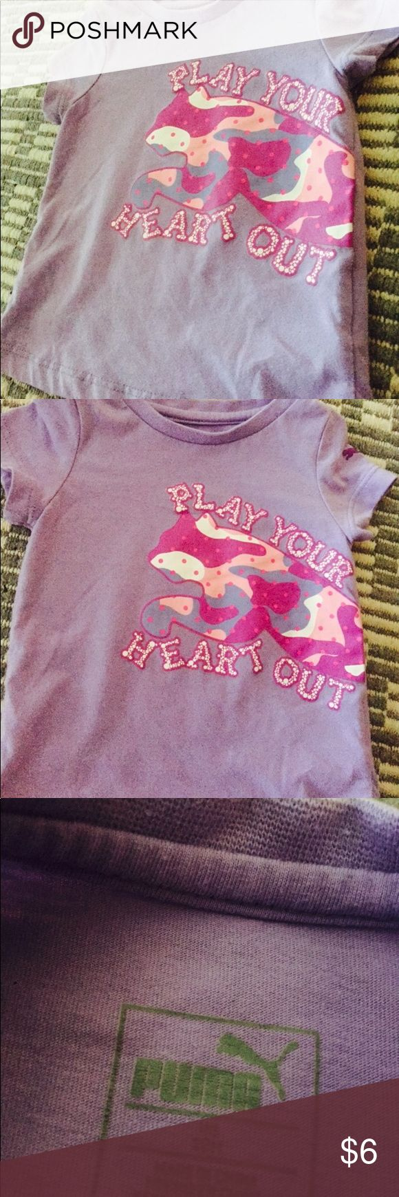 """Puma baby girls 12 months shirt Light Purple shirt with pink and white camo design inside the large puma logo """"play your heart out """" underneath. Size 12 months *************** FOR LOCAL  PICK UP (Tampa ,Florida and surrounding areas ), contact PRICING **************** LIGHTLY USED  