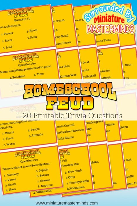 Home School Feud – Free Printable Trivia Game My daughter has been watching the game show network lately. She enjoys the trivia questions and likes to try to answer along. Together, her and I, made this game for us to play at home. If all goes well, this is only the first edition and more...