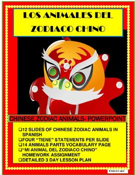 "CELEBRATE CHINESE NEW YEAR IN YOUR CLASSROOM-This amazing Power Point is a great tool to teach ""Animals"" vocabulary in Spanish. The lesson was designed to teach students to understand, write and listen to animal descriptions in Spanish. It is a great way to have students learn animal body parts."