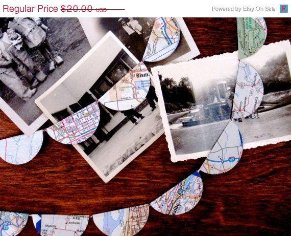 CIJ SALE Wanderer Map Garland  Ten Feet of by Palimpsestic on Etsy, $17.00