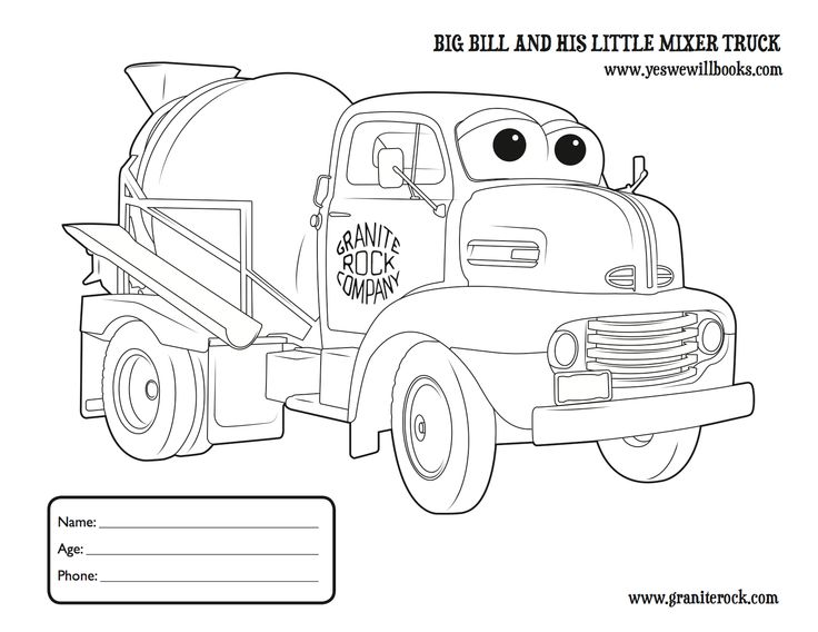 9 best Big Bill and his Little Mixer Truck images on Pinterest - best of free coloring pages big trucks
