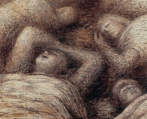 """Four Grey Sleepers"" 1941 - Henry Moore (Henry Moore's spectral images from the underground. Drawings of figures sheltering from the blitz weren't propaganda but a poignant response to a common plight.)"