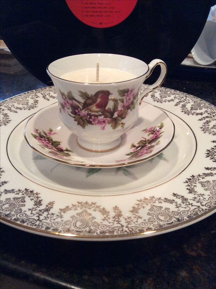 Soy wax teacup candles, vintage teacup with saucer.