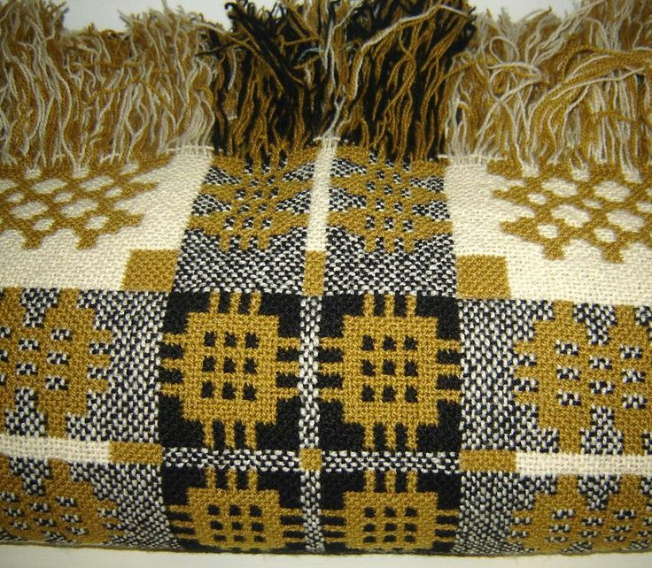 Vintage Reversible Welsh Wool Blanket CAMBRIAN MILLS LLANDYSSUL
