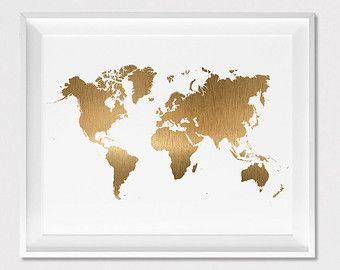 Fancy Weltkarte drucken Poster Wanddekoration Travel Poster Simulation von gold Weltkarte Wandtattoo