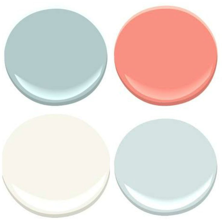 Coral and aqua paint colors:   OCEAN AIR, CORAL GABLES, SEAFOAM, MOUNTAIN PEAK WHITE (Benjamin Moore paints)
