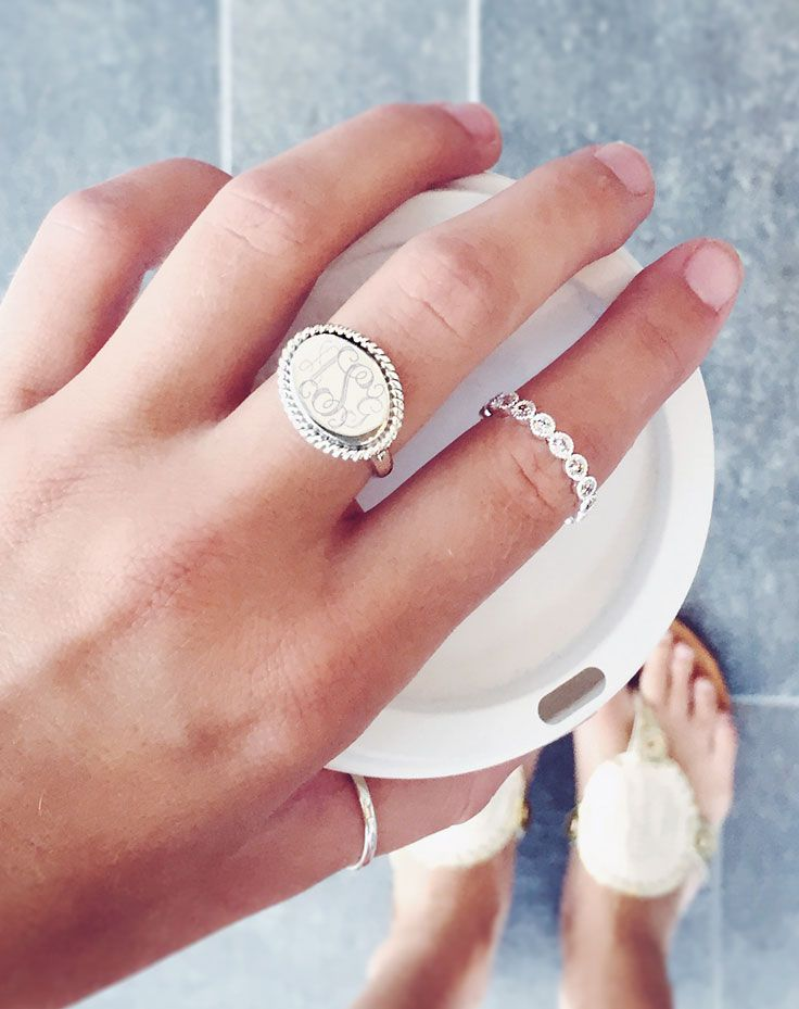 This Sterling Silver Monogrammed Zara Ring is a favorite! Chic, sweet, and on SALE only at Marleylilly.com!