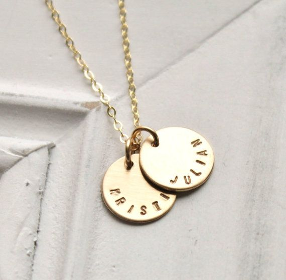 Personalized Gold Necklace Personalized Necklace by TheSilverWren