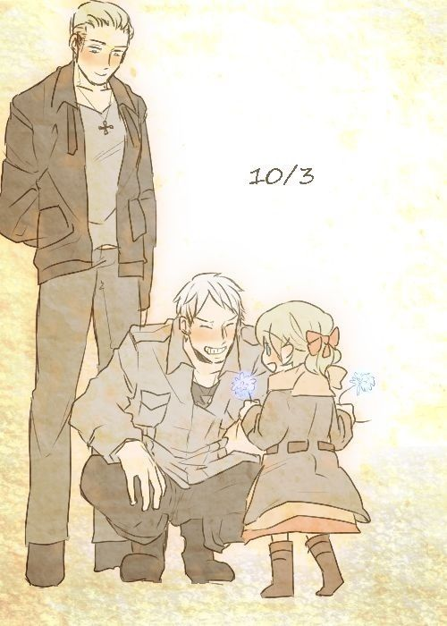 Germany and Prussia and baby Lichtenstein. I don't know if this is when they become siblings or if it's germany x Prussia (which I don't ship) but this is so cute