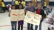 For students at a Des Moines elementary school, warm clothes came just in time to beat the cold.