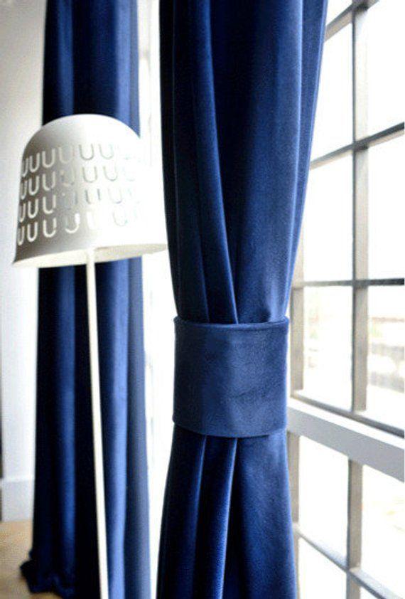 Pair Of Navy Blue Velvet Curtains Bedroom Velvet Curtains Living