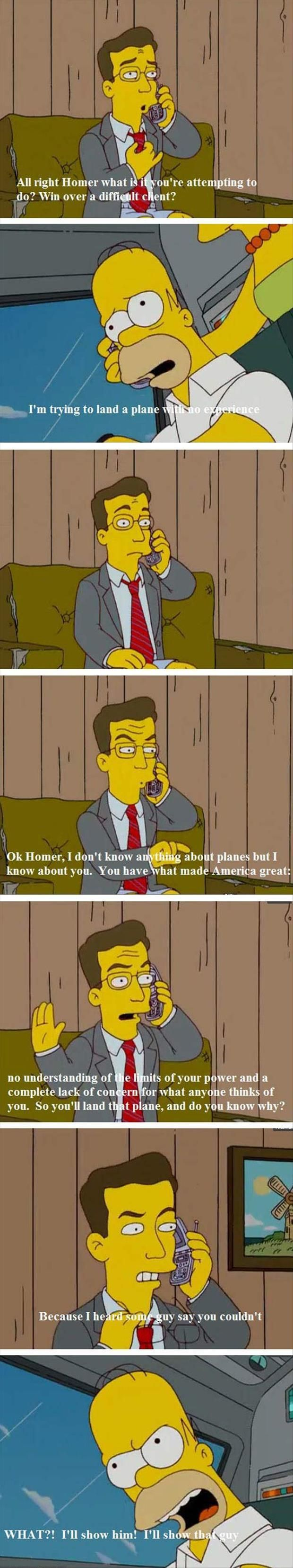 How to get Homer to land a plane spark up his determination to prove someone wrong.