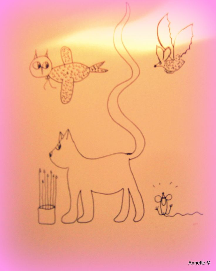 Cat, owl, bat and mouse by Annette Lemaire