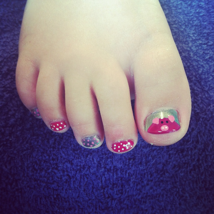 Piggy Toe Nail Art- How cute for the next time we take her to the salon!