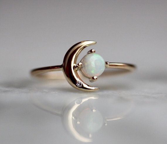 14K Opal Star And Moon Ring Diamond Night Sky Astrology