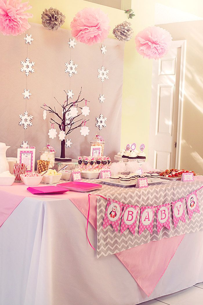 Delightful Winter Wonderland Little Penguin Baby Shower