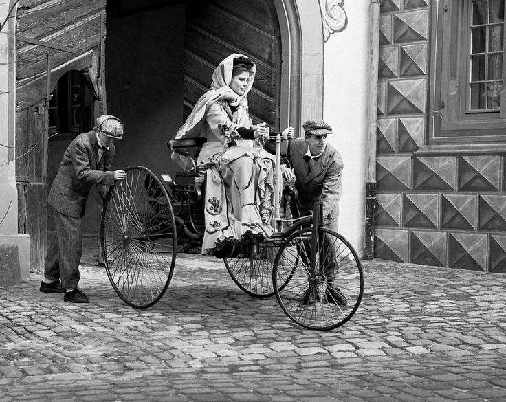 z- Bertha Benz- Inconceivable 65 Mile Road Trip, 1888 (Benz Patent Motor Car Model III) [Re-enactment- B&W]