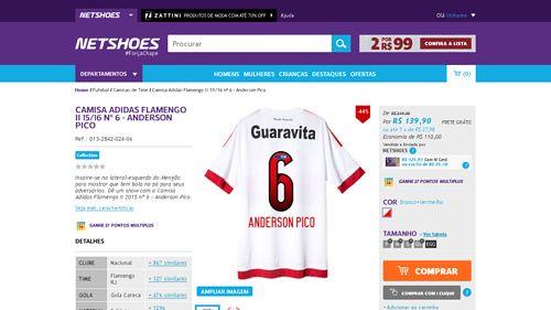 [Netshoes] Camisa Adidas Flamengo II 15 / 16 nº 6 - Anderson Pico - Masculino - 0000137757447 por R$ 139,90