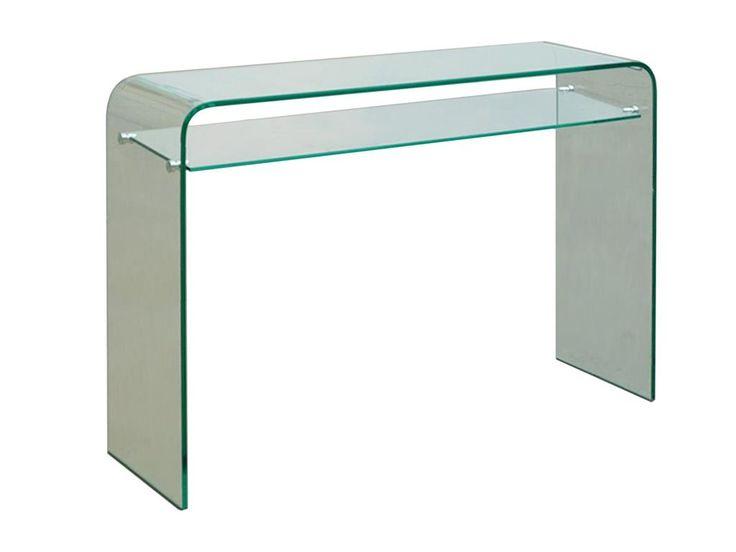 Glas - Konsole mit Ablage, Klarglas formgebogen, Breite 115cm, Höhe 85cm, Jetzt bestellen unter: https://moebel.ladendirekt.de/wohnzimmer/tische/couchtische/?uid=efa81fc7-823c-5967-8ce8-9ab83825953d&utm_source=pinterest&utm_medium=pin&utm_campaign=boards #beistelltisch #konsole #glastisch #wohnzimmer #couchtische #tische