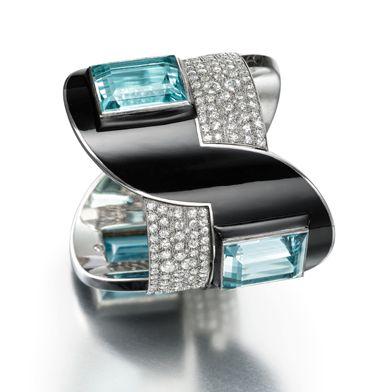 CollectingFineJewels: PARIS BIENNALE: amazing Art Deco Aquamarine, diamond and enamel bracelet, Paris 1926, by Jean Fouquet.