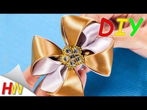 ШКОЛЬНЫЕ БАНТИКИ ИЗ АТЛАСНЫХ ЛЕНТ.DIY Double Bow.Ribbon bows. - YouTube