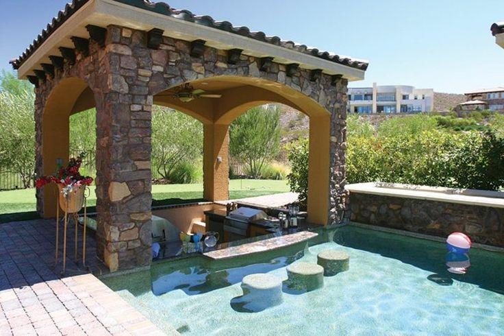 gazébo et abri de piscine en pierre