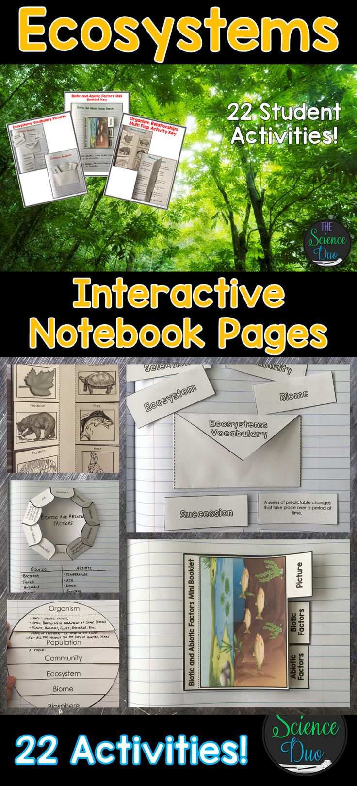 Bring engaging and interactive activities into your classroom with these science notebook pages. This resource contains 22 different interactive notebook activities covering energy flow in ecosystems, adaptations, organism relationships, and much more!