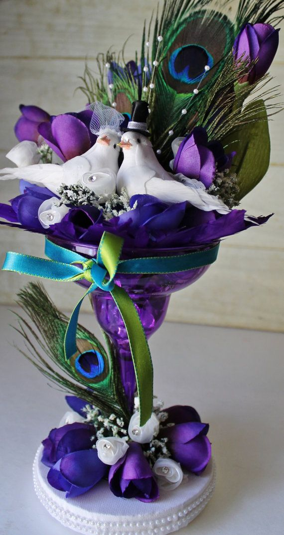 Wedding Cake Topper - Peacock Theme - Purple - Teal - Love Birds - Cottage Chic - Tulips - Champagne Glass - Elegant