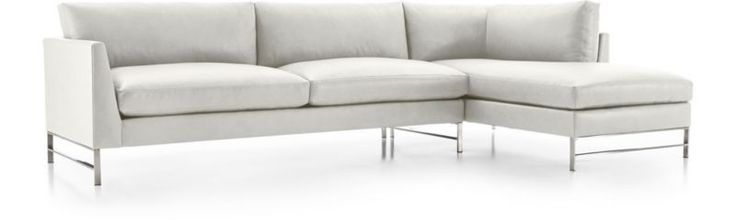Genesis Leather 2-Piece Right Arm Chaise Sectional with Brushed Stainless Steel Base | Crate and Barrel