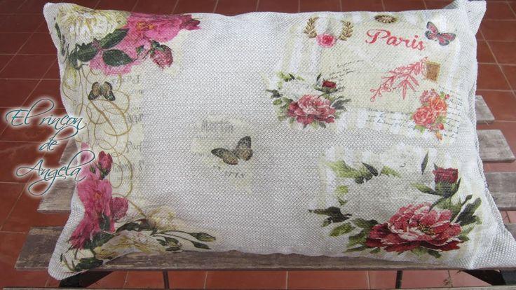 Decoupage en tela - Como hacer decoupage sobre un cojín con servilletas ...