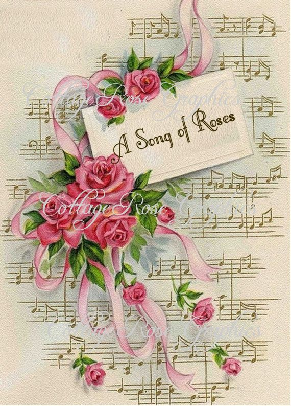 Large digital download A song of Roses pink by CottageRoseGraphics, $3.75
