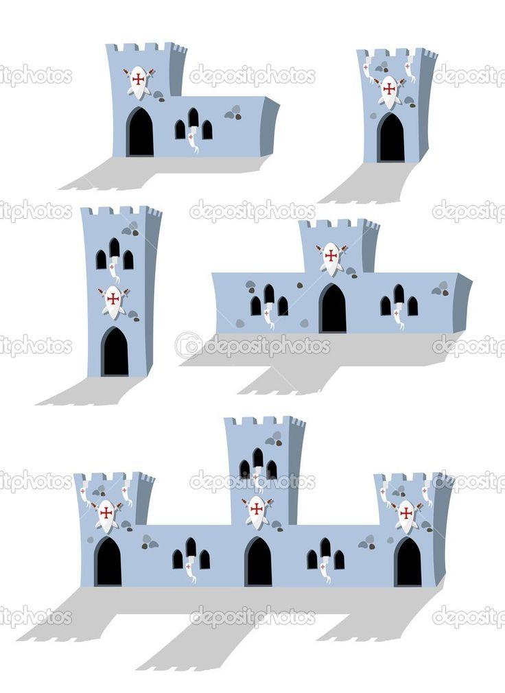 collezione di castelli medievali del cartone animato su sfondo bianco - illustrazione vettoriale - Illustrazione vettoriale: 11258665