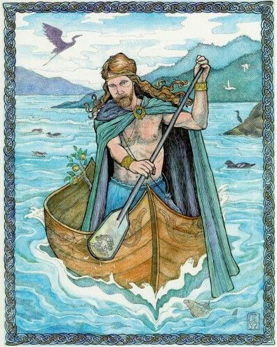 "Manannán mac Lir- Irish myth: the god of the sea. He is sometimes said to guide the deceased to the otherworld. He owns a boat named Scuabtuinne (""Wave Sweeper""), a sea-borne chariot drawn by the horse Enbarr, a powerful sword named Fragarach (""The Answerer""), and a cloak of invisibility."