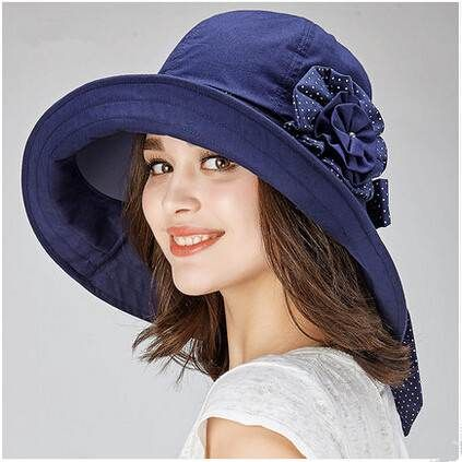 Flower wide brim sun hat for riding womens bow cotton hats