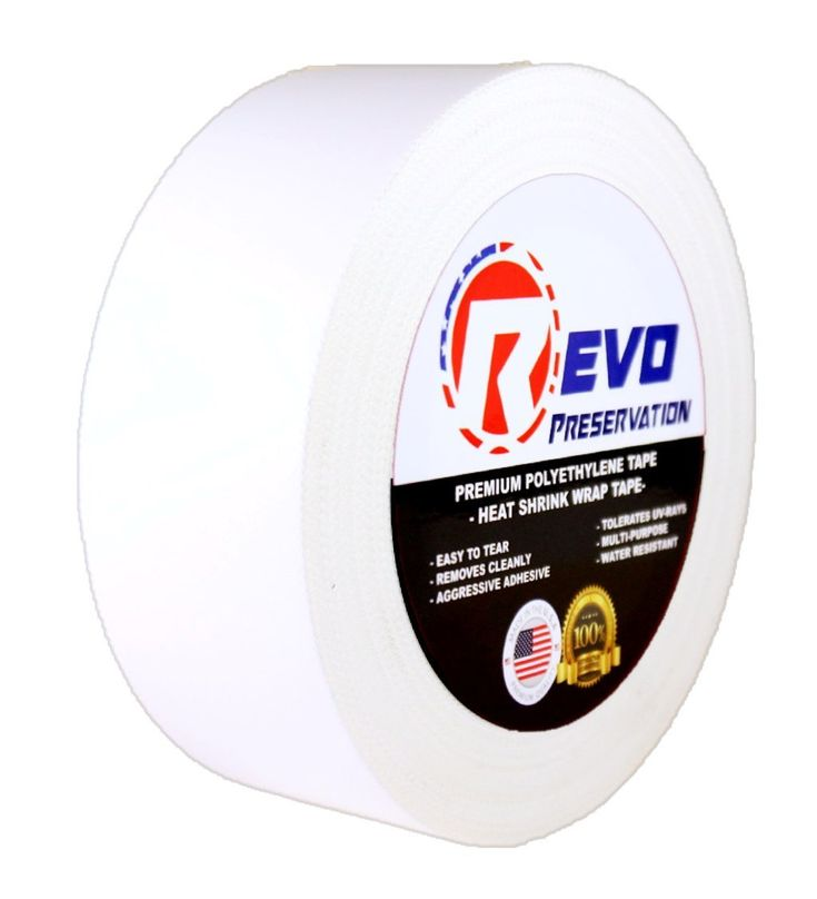 """REVO Preservation Tape / Heat Shrink Wrap Tape (2"""" x 60 yards) MADE IN USA (WHITE) Poly Tape - Electrical Tape - Boat Storage Tape (PINKED EDGE) SINGLE ROLL (ECONOMY: 7.5 MIL THICKNESS)"""