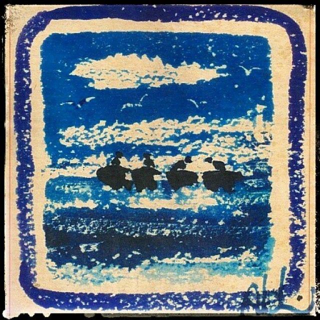 """#beautiful #anatolia Anadolu'dan İlham Kaynakları : Yaşar Kemal'in """"Deniz Küstü"""" adlı romanı için Abidin Dino'nin çini mürekkebi ile yaptığı çizimlerden biri... #turkishpainter #abidindino #turkishauthor #yaşarkemal #fiction #denizküstü #istanbul #sea #pattern #ink #anatoliangirls"""