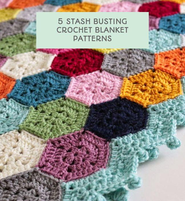 5 stash busting crochet blanket patterns - via This Little Space of Mine