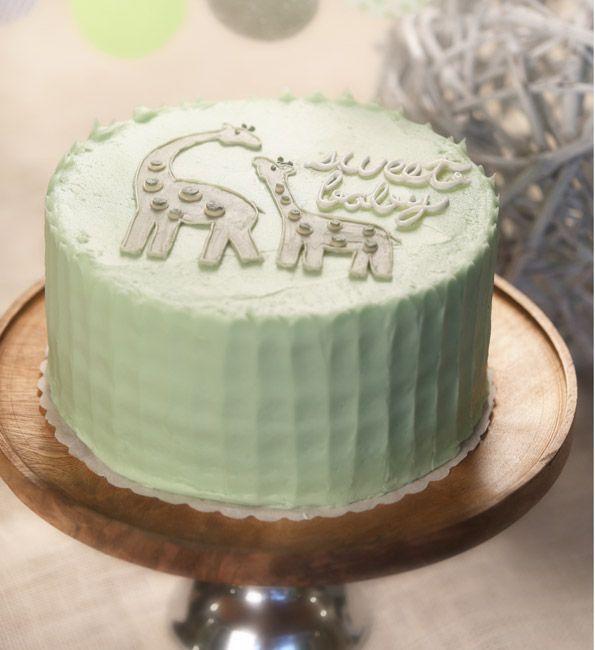 Evite giraffe baby shower cake
