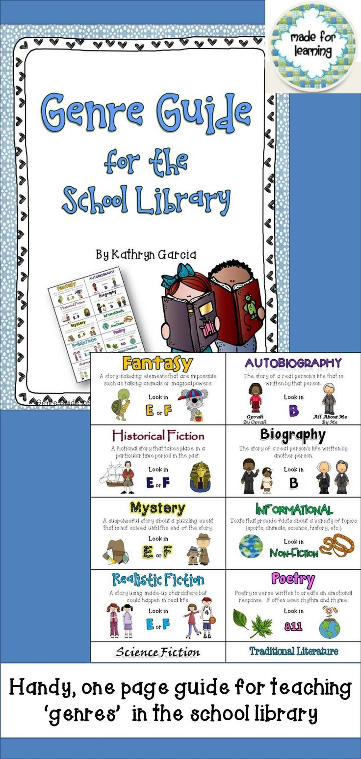 This 'Genre Guide for the School Library' was created to support school librarians in the teaching of 'genres'. Students need to be introduced to the many kinds of literature and the best means for locating them in the school library. Classroom teachers may also find this useful in making connections between the classroom and the library media center. $