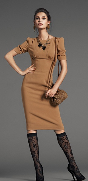 Dolce  Gabbana ~Great dress with horrible trouser socks and thrown together accessories. But it's a great dress!