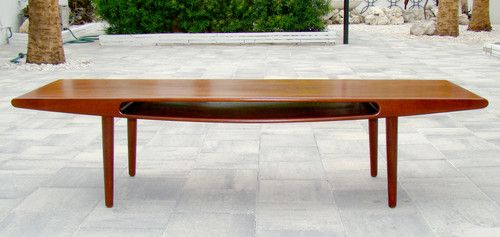 Vintage 1960's Danish Modern Mid Century Smile Teak Coffee Table