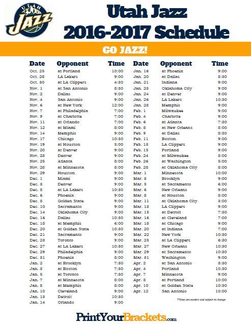 2016-2017 Utah Jazz Schedule