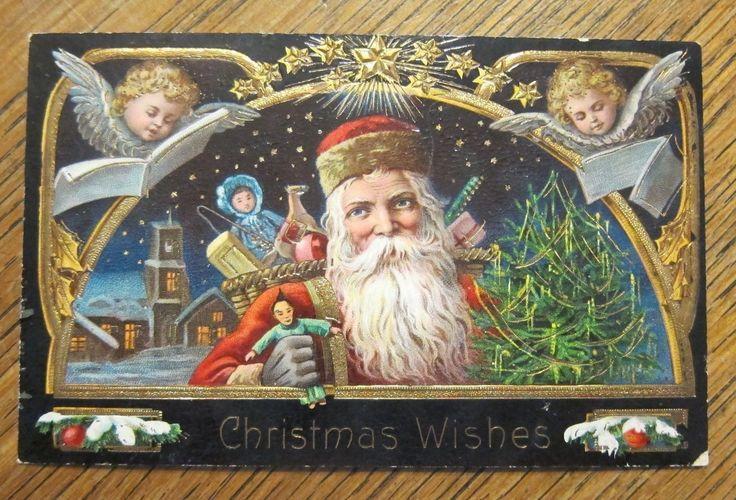 Old World Santa Angels Sing Toys Antique Vintage Christmas Gel Postcard 7005A | eBay