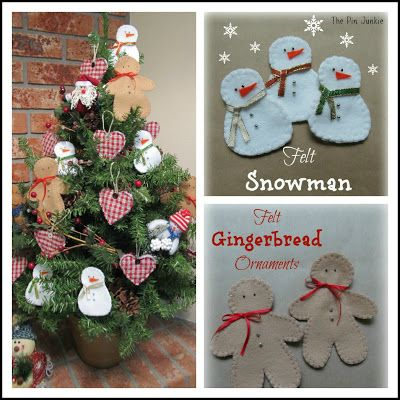 Felt Christmas Ornaments with pattern