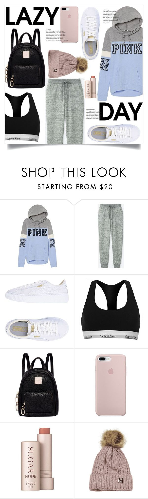 """""""Sleep In: Lazy Day"""" by jane-cupacake ❤ liked on Polyvore featuring Victoria's Secret PINK, Uniqlo, Puma, Calvin Klein, Fiorelli and Fresh"""