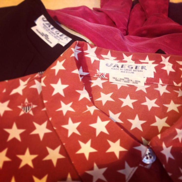 These retro Jaeger blouses has been getting us excited at The Clothes Line  - this 100% silk red star print showstopper is our favourite!