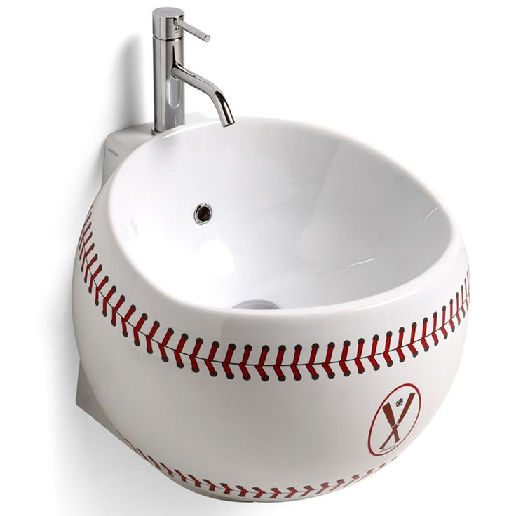 White Baseball Washbasin Bathroom Sink Unit