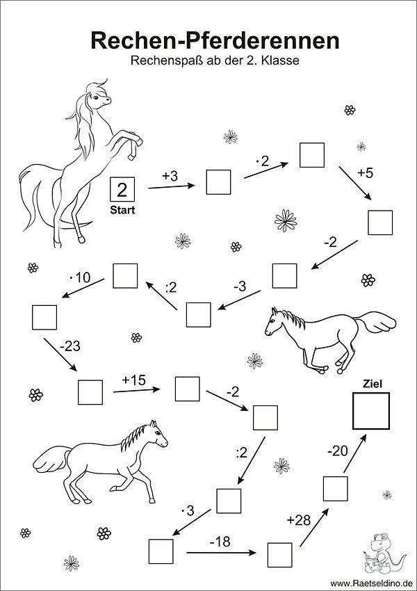 Zahlenraetsel mit Pferden - Mathe Rechenaufgaben 2. Klasse